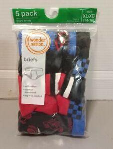 Wonder Nation Boys  Briefs 5-Pair Husk Underwear soft Cotton Tag Free XL (14-16)