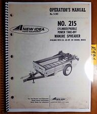 New Idea 215 Cylinder/Paddle PTO Manure Spreader Owner Operator & Parts Manual