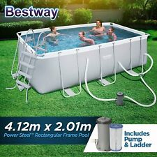 Bestway Above Ground Swimming Pool Power Steel Frame Filter Pump 4.12x2.01x1.22M
