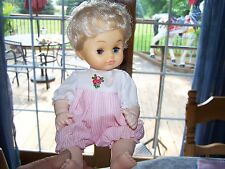 """Vintage 10"""" Plastic Doll 3 Pink Outfits Drink and Wet Made in Hong Kong"""