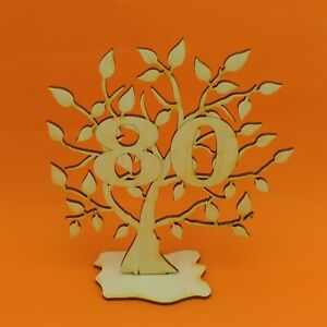 Lebensbaum 80. Geburtstag 16 cm Geschenk Baum zum 80. Geb. Holz