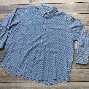 Izod Mens Big 20 34/35 Quick Dry Blue White Plaid Long Sleeve Button Down Shirt
