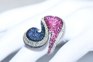 Exklusive Diamantring Mit 6,78 Saphiren& Rubinen& Diamanten F/VVS