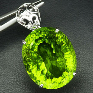 PERIDOT GREEN APPLE CONCAVE OVAL 40.50 CT. SAPP 925 STERLING SILVER PENDANT GIFT