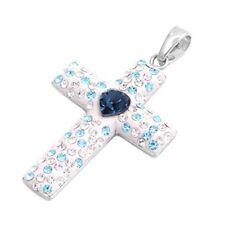 Christian Cross Pendant w Cubic Zirconia Sterling Silver 925 Jewelry Gift 30 mm