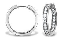 Ladies Diamond Hoop Earrings  9ct WHITE gold PAVE set LADIES  .57 Ct Diamonds