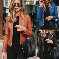 US Womens Faux Leather Jacket Bomber Coat Ladies Biker Outwear Coat Casual Tops