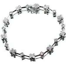 ".70 Carat Diamond Milgrain Bracelet F Vs2 14k White Gold 7"" long"