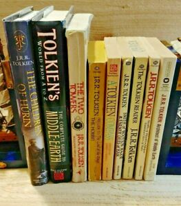 Lot of 9 J.R.R. Tolkien Fantasy Books LOTR Two Towers Hobbit Hurin Guide Compass