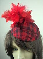 red felt pillbox hat feather flower fascinator wedding bridal race vintage