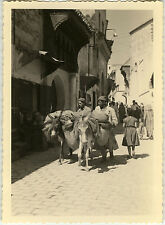 PHOTO ANCIENNE - VINTAGE SNAPSHOT - MAROC ÂNE PORTEUR RUE FÈS - STREET DONKEY