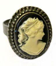 Anello color bronzo cammeo 18x13mm dama gothic retro victorian lady cameo ring