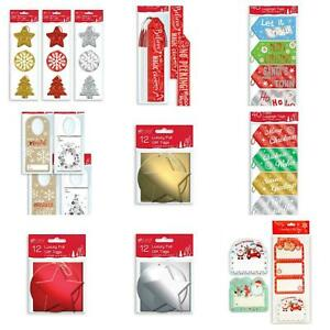 12/15/40 PACK CHRISTMAS GIFT TAG PRESENT WRAPPING TRADITIONAL CUTE GLITTER  SANT