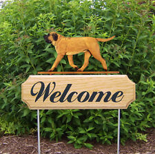 Mastiff Dog Breed Oak Wood Welcome Outdoor Yard Sign Apricot
