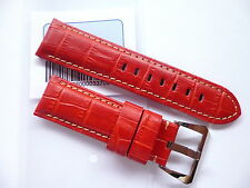 24mm Red Strap for your Panerai - 24/22mm Leather Watch Band in EU