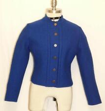 """BOILED WOOL Sweater Jacket BLUE Women German Austria WINTER WARM Coat B36"""" 6 S"""