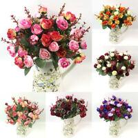 21 Head Artificial Fake Silk Rose Flower Bouquet Home Wedding Bridal Party @Deco