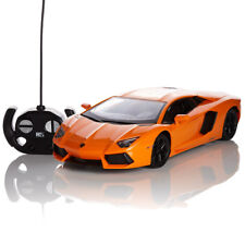 RC REMOTE CONTROLLED CAR 1.24 ORANGE LAMBORGHINI AVENTADOR KIDS TOY NEW GIFT