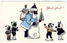 1930-s BLACK AFRICA SANTA with KIDS PRESENTS CHRISTMAS ANTIQUE POSTCARD SWEDEN