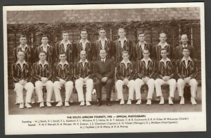Postcard South African Tourists cricket team photograph 1955 all named RP