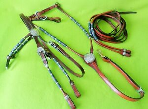 QUALITY Vintage Silver~ROLLED Smooth Braided~BRIDLE~BREAST COLLAR~REINS Set~NR