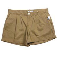 Old Navy Womens Shorts Size 10 Weekend Pleated Cuffed Cuffed Khaki Chino Stretch