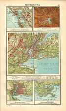 1908 Estados Unidos NUEVA YORK mapa ~ San Francisco Yellowstone National Park Orleans