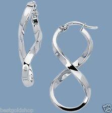 "1 1/4"" Polished Twisted Figure 8 Hoop Earrings Real 14K White Gold 2.1gr"