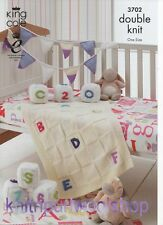 KING COLE 3702 - Blanket, Play Blocks & Bunting KNITTING PATTERN in DK yarn
