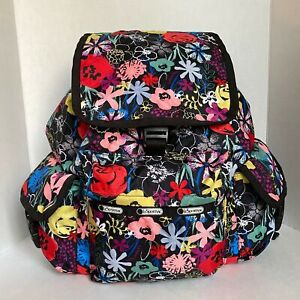 Le Sportsac VOYAGER Backpack Black with Red Yellow Blue Pink Flowers