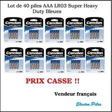 Lot de 40 Piles Camélion  Zinc Carbone Bleue LR03 prix cassé !!