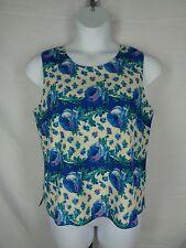 Talbots Petites Floral Blouse Size 14P Sleeveless Silk Cotton 14 Petite New