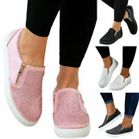 UK Womens Slip On Flat Shoes Ladies Casual Comfy Loafers Pumps Trainers Sneakers