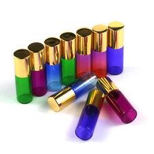 1-100X 5ml Empty Glass Roll on Bottles Metal Roller Ball Perfume Essential Oils
