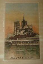 Lucien Gautier 1890s Hand Tint Etching ABSIDE de NOTRE DAME de PARIS FRANCE