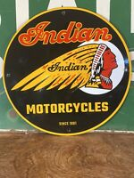"VINTAGE STYLE ""INDIAN MOTORCYCLES"" DEALER SIGN HEAVY PORCELAIN SIGN 12 INCH"