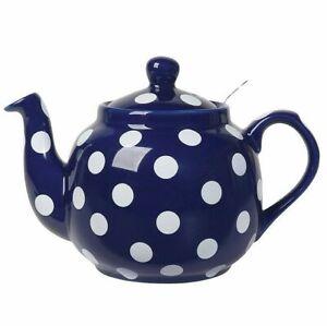 4 CUP FILTER TEAPOT, COBALT BLUE W WHITE SPOTS BY LONDON POTTERY 064180238035