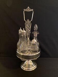 Antique Wilcox, Quad Silver Plate #542, 5 Piece Cruet Set