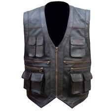 Jurassic World Fallen Kingdom Chris Pratt Brown Distress Biker Real Leather Vest