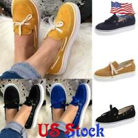 Women's Slip On Flats Canvas Shoes Classic Low Top Casual Bow-tied Loafers US