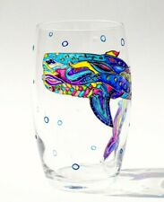 Hand Painted Stemless Wine Glass Whale Ocean Sea Art Drinking Glass