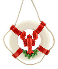 RED & WHITE LIFE RING w/LOBSTER GREENERY & ROPE COASTAL NAUTICAL XMAS ORNAMENT