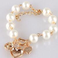 Luxury Women Pearl Love Heart Flower Rhinestone Crystal Glitter Bracelet Bangle