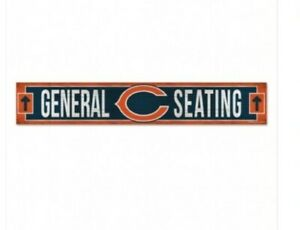 """🏈🏈CHICAGO BEARS WOOD SIGN 6""""X36"""" GENERAL SEATING.  GREAT FOR THE MAN CAVE 🐻⬇️"""