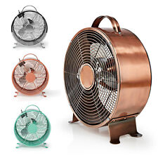 """9"""" Retro Desk Fan Metal 2 Speed Home Office Table Cooler Portable with Handle"""