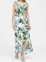NWT Banana Republic New $159 Women Floral Ruffle-Wrap Maxi Dress Size 0, 2, 4, 6