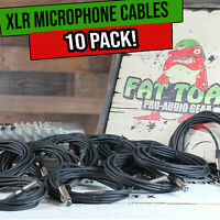 FAT TOAD Microphone Cords 20FT - 10 PACK XLR Cable Female Male 3 Pin Recording