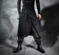 Mens Gothic Black Loose Harem Pants Nightclub Hip hop Casual Trousers Vintage