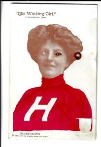 HARVARD UNIVERSITY COLLEGE GIRL WINKING, Mechanical Postcard
