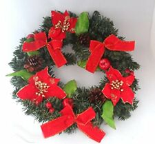 "Luxury Large 40cm, 16"" Red Poinsettia Wreath,Hanging Wreath Christmas Decoration"